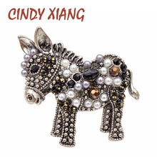 CINDY XIANG 2 Color Choose Bead Donkey Brooches Women And Men Fashion Unisex Animal Pin Funny Cute Cartton Style Design Kid Gift