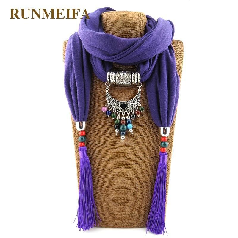 купить New Design statement jewelry Pendant necklace scarves for ladies Jewelry scarf 180x40cmPure color polyester cotton Jewelry scarf недорого