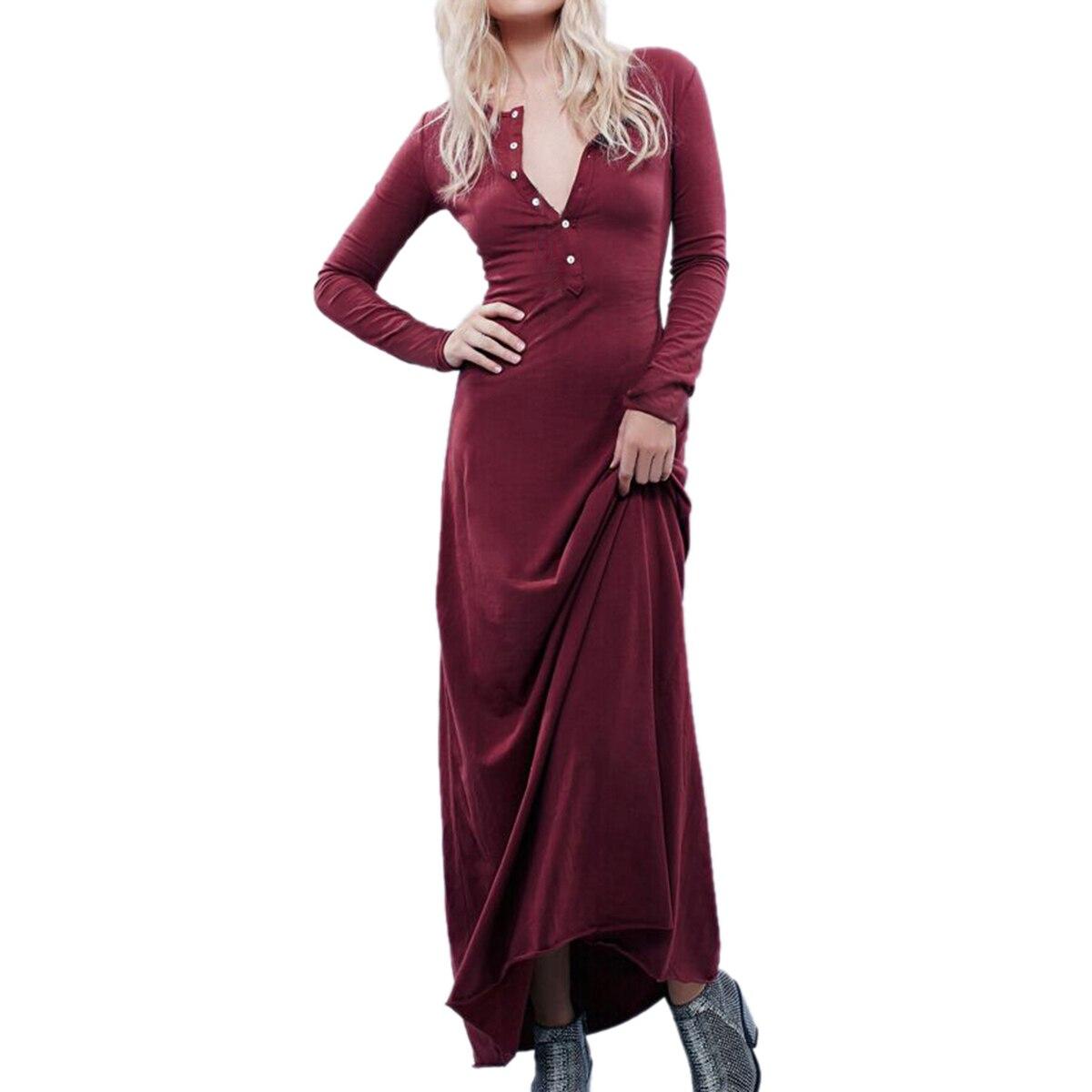Žene proljetne jesenske pamučne duge haljine, ležerne, duge - Ženska odjeća - Foto 3