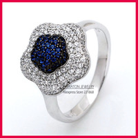 Carraton RSCH7037 High Quality Two Color Plating Black Rhodium Plated Flower Shaped 925 Pure Silver Ring
