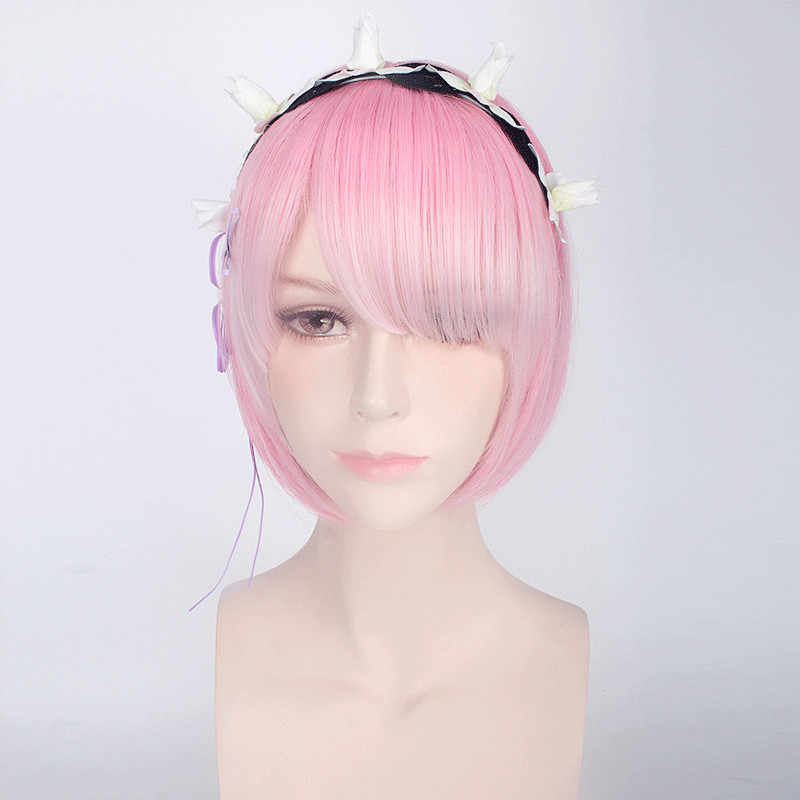Рем Ram Косплэй парик Re: нуля начать жизнь в другой мир синий и розовый костюм Глава Аксессуары Косплэй Хэллоуин