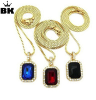 Micro Square Red Black Blue Necklace Pendant 2 4mm 24 Box Chain Men Iced Out Gold