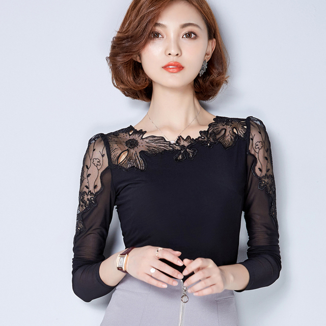 27b1f90b431 Women Lace Blouse Chiffon Blouses Tops Long Sleeve Shirt Women Blusas  Camisas Femininas 2017 Ropa Mujer Chemise Femme Plus Size