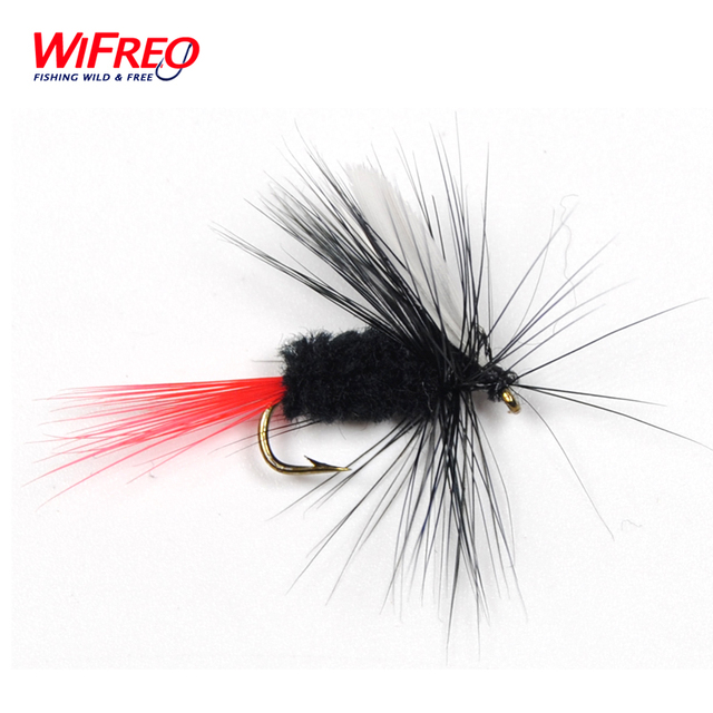 10PCS WIFREO Free Box Black White Wings Trout Fishing May Fly Dry Fly Buggs Fishing Lure Size 10