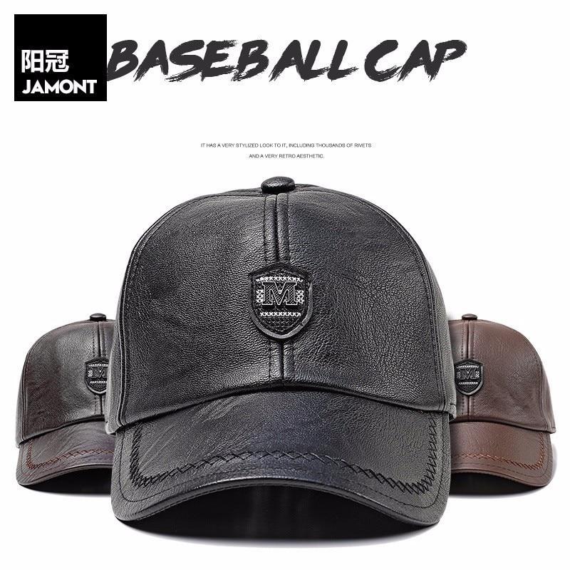 Adjustable PU Leather   Baseball     Caps   for Men Solid Faux Leather Male   Cap   Snapback Hat Black Brown Hip Hop Boy Spring Street Wear