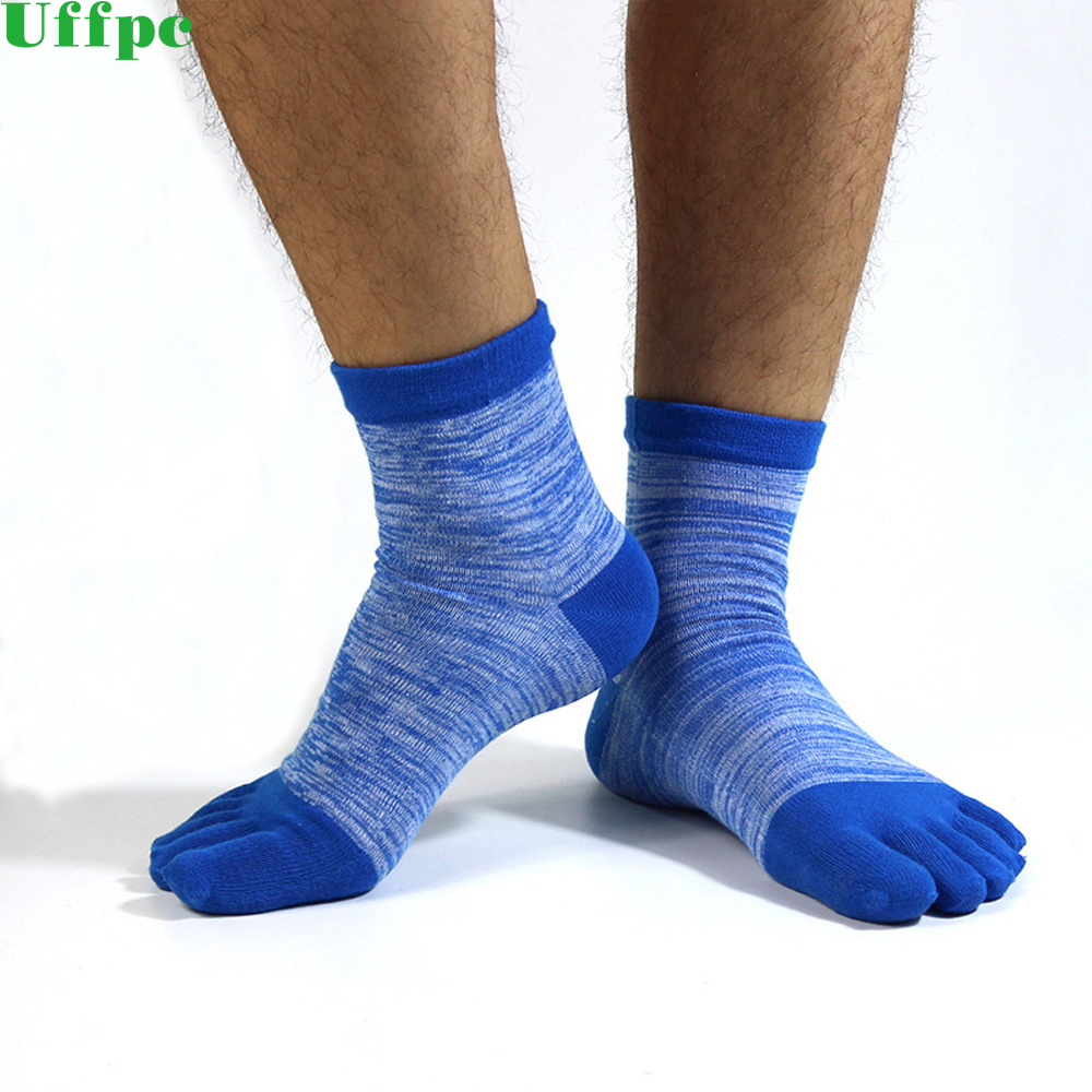1 Pair Mens Summer Cotton Toe Socks Striped Contrast Colorful Patchwork Men Five Finger Socks Free Size Basket Calcetines