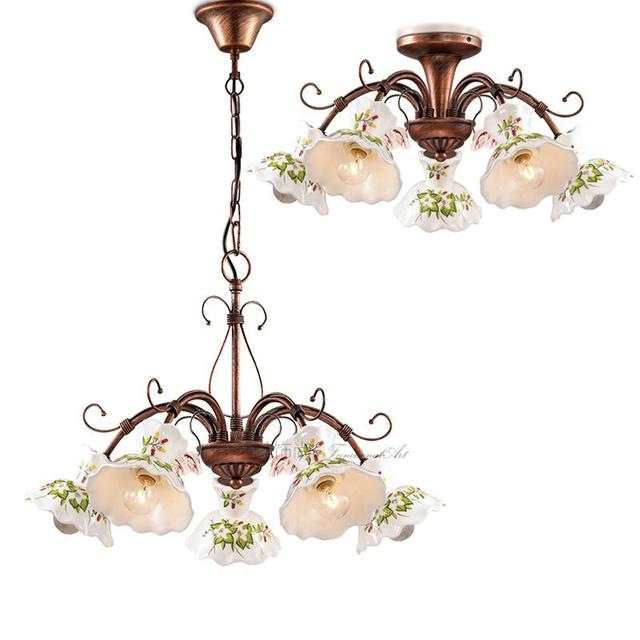Regron Europe Style Ceiling Lighting Rustic Classical Ceramics Iron Led Ceiling Lights Art Deco Luminary For Library Dining Room
