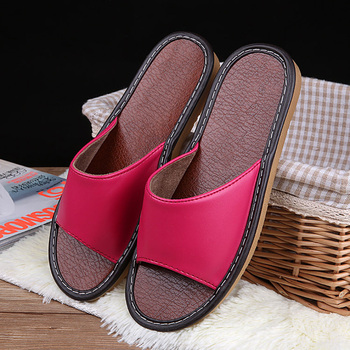 STONE VILLAGE High Quality Summer Leather Slippers Shoes Non-Slip Indoor Home Slippers Couple Men And Women Slippers Shoes 4