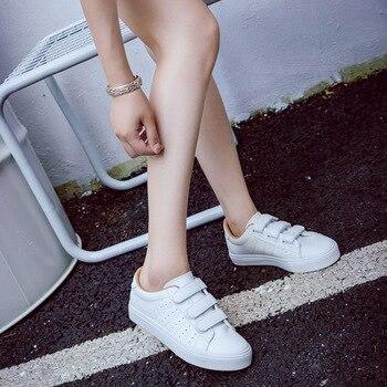 Zapatos De Cuero Blanco   2017 Otoño Nuevas Mujeres De La Manera Zapatos De Plataforma Casuales Agujero Pu Rayado Simple Mujeres Ocasionales Zapatos Blancos Zapatillas De Deporte
