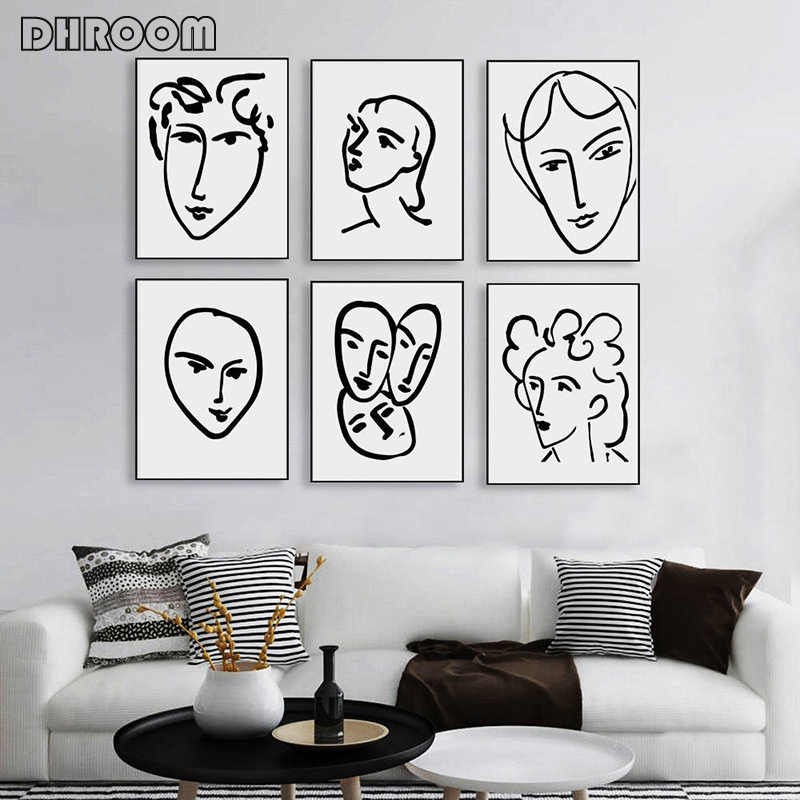 Henry Matisse Abstract Portrait Poster Prints Woman Face Line Artwork Canvas Painting Black White Minimalist Wall Art Picture