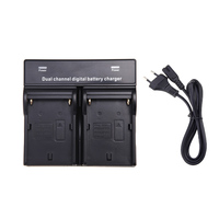 Dual Channel Digital Battery Charger For SONY NP F970 F750 F960 QM91D FM50 FM500H Camera