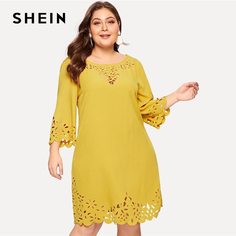 SHEIN Plus Size Yellow Scalloped Edge Laser Cut Insert Plain Short Dress Women 2019 Spring Three Quarter Length Sleeve Dress