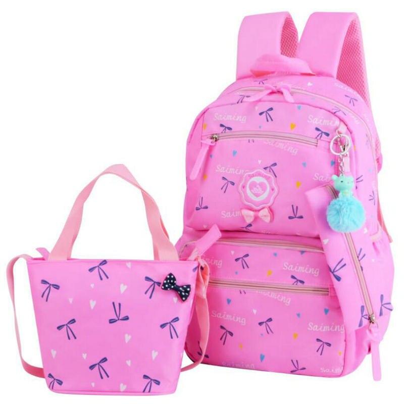 2018 Новая мода высокого Ёмкость студент Bookbags Девушки туристические рюкзаки детские ортопедические ранцы 3 шт./компл. прекрасные ранцы