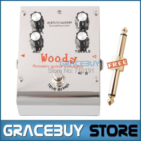 Biyang ToneFancier Series AC-8 Woody Acoustic Simulator Pedal Guitar Effect Pedal True Bypass aroma ac stage acoustic guitar simulator effect pedal aas 3 high sensitive durable top knob volume knob true bypass metal shell