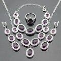 Huge Dark Purple Amethyst Silver Jewelry Sets For Women Necklace Pendant Bracelets Long Drop Earrings Rings Free Gift Box