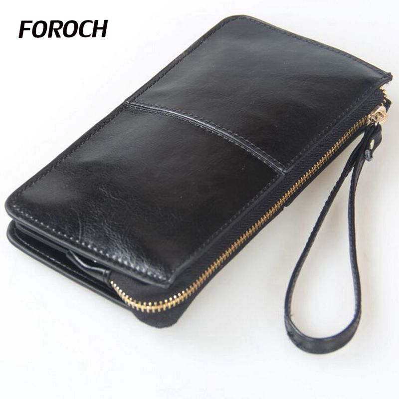 FOROCH High Capacity Women Wallets Long Genuine Leather Money Wallet Female Zipper Day Clutches Coin Purse Ladies Wristlet 311 women genuine leather character embossed day clutches wristlet long wallets chains hand bag female shoulder clutch crossbody bag