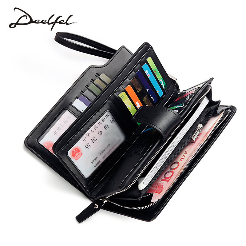 Deelfel Genuine Leather Women Wallet Female Long Clutch Lady Walet Portomonee Rfid Luxury Brand Money Bag For Girls Coin Purse