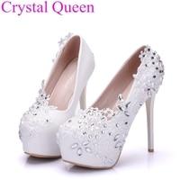 Elegant Heels Fashion White Lace Flower Rhinestone Pumps Wedding Shoes For Women Red Color White Pumps
