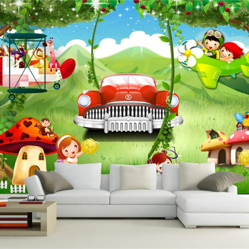 Modern Wall Paper 3D Cartoon Forest Wallpapers For Living Room Custom Wall Stickers Car Print Wall Papers Home Decor Wall Mural cartoon birdcage wall stickers for kids room kindergarten decor