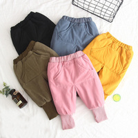 Children's Cotton Trousers In The Winter Of 2018 New Pure Color Children's Boys And Girls'baby Flannel Hallen Trousers