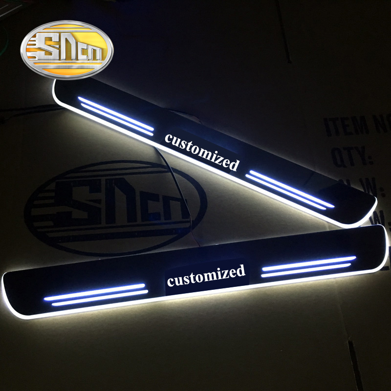 SNCN 2PCS Acrylic Moving LED Welcome Pedal Car Scuff Plate Pedal Door Sill Pathway Light For