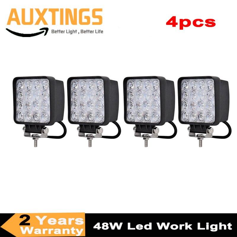 Точечная Светодиодная лампа 4 шт, 4 дюйма, 48 Вт, 12 В, 24 В, точечная Светодиодная лампа/прожекторная квадратная Светодиодная лампа для внедорож...