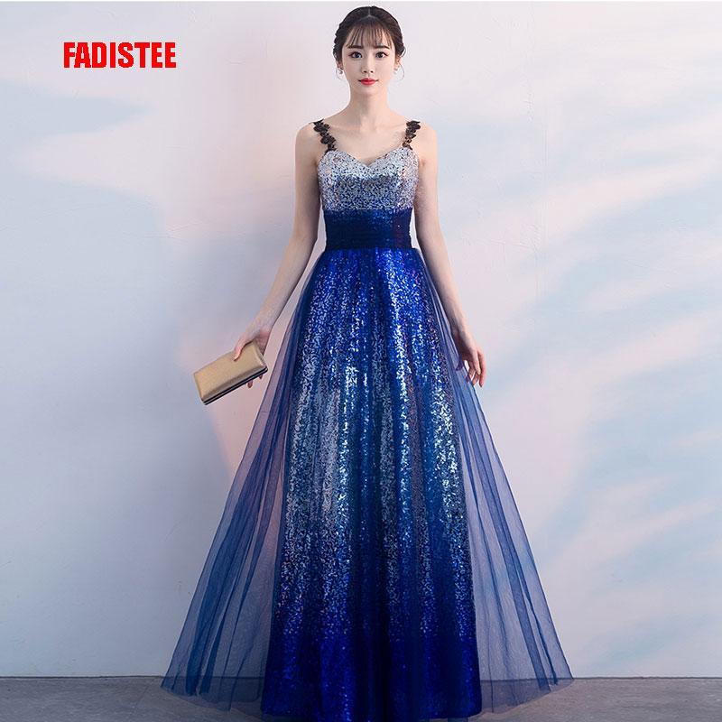 FADISTEE Elegant evening prom party dresses floor length style dresses Vestido de Noiva bling gradient sequins