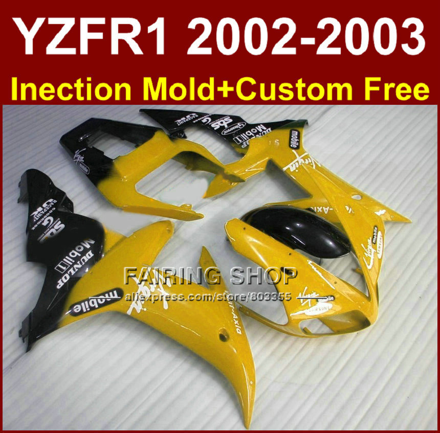 Mobile yellow body parts for YAMAHA YZF R1 2002 2003 +custom mold fairings yzf r1 02 03 YZF1000 02 03 fairing kit high quality abs fairing kit for yamaha r1 2002 2003 red flames in black fairings set injection molding yzf r1 02 03 yz32