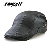 JAMONT NEW PU Leather Autumn Winter Beret Hats For Men Faux Leather Beret Hats With