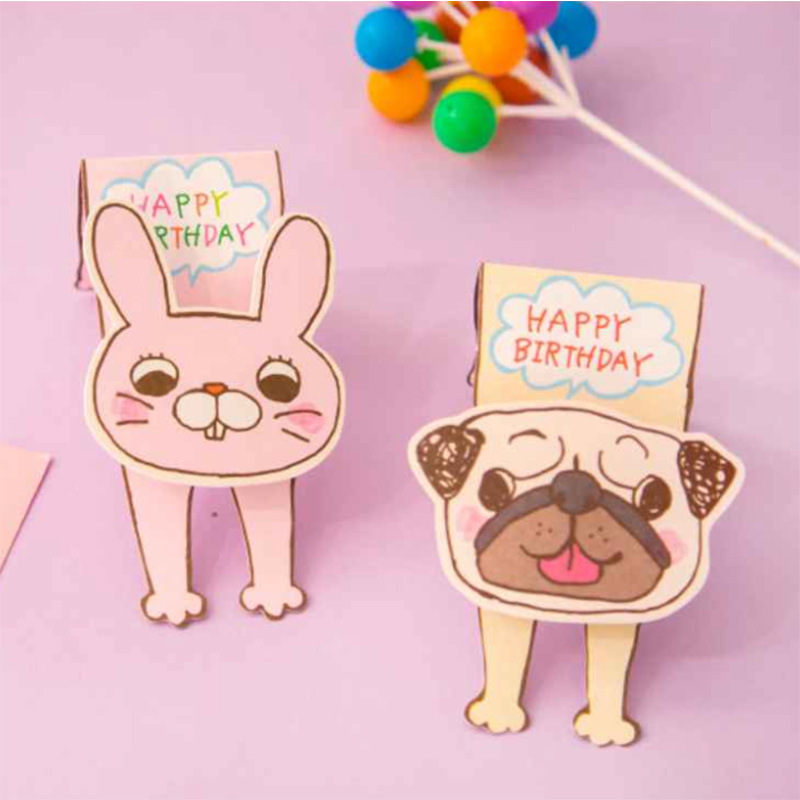 Cute dog rabbit happy birthday card birthday party invitation card cute dog rabbit happy birthday card birthday party invitation card animal pets greeting card gift card diy postcard on aliexpress alibaba group bookmarktalkfo Images