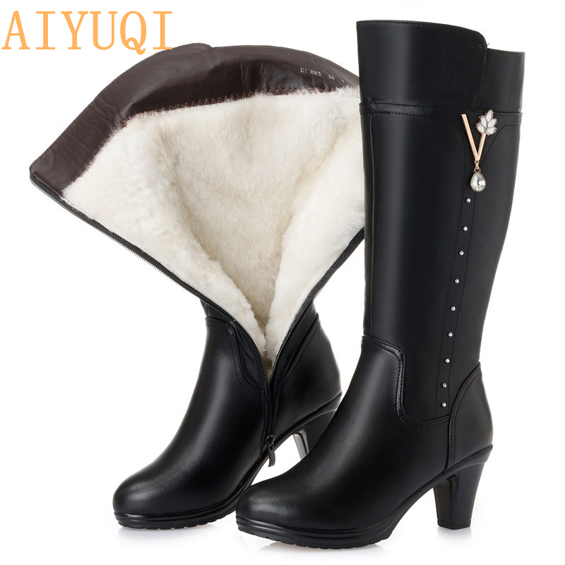 Women s winter boots 2019 new genuine leather female boots size 43 warm high heeled wool