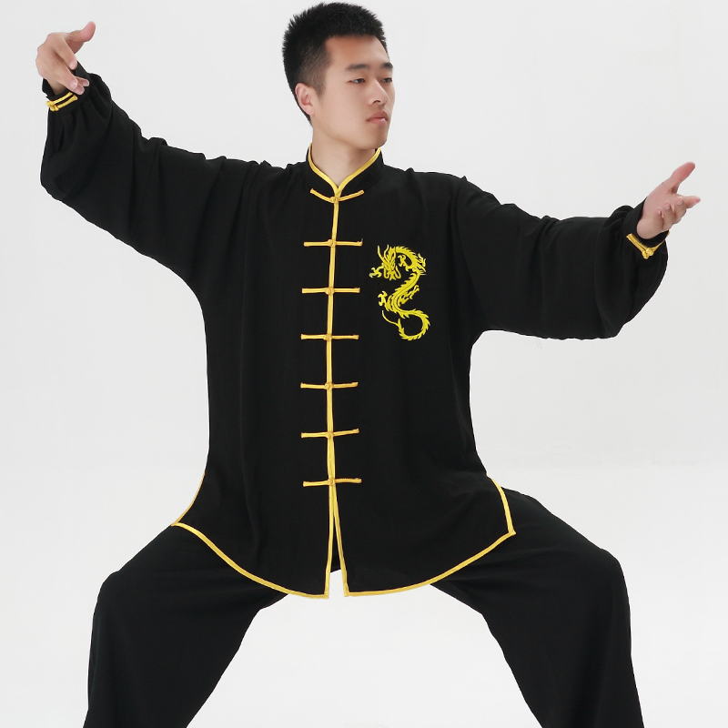Long Sleeves Tai Chi Sets With Dragon Embroid Kungfu Shirt And Pants Martial Art Clothing Chinese Tang Suit Wushu Wear