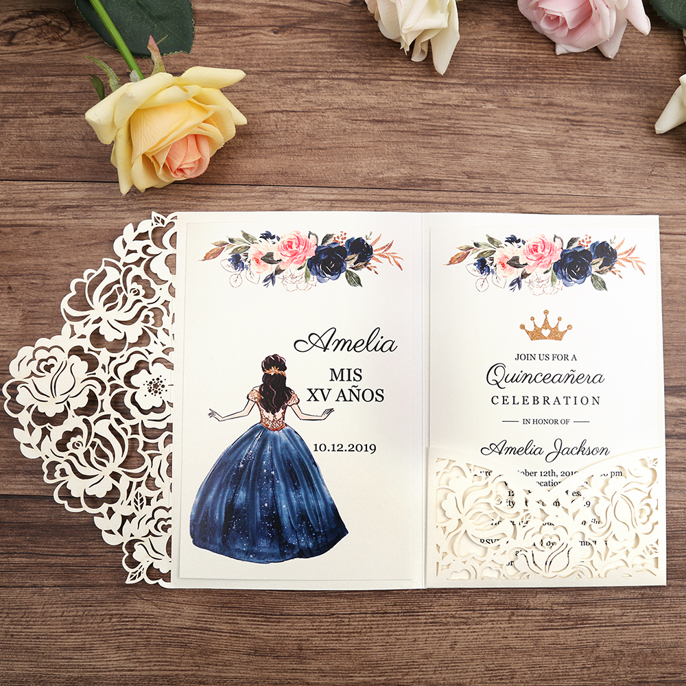 50pcs White Laser Cut Floral Invitation Cards for Wedding Party Quinceanera Anniversary Birthday CW0008