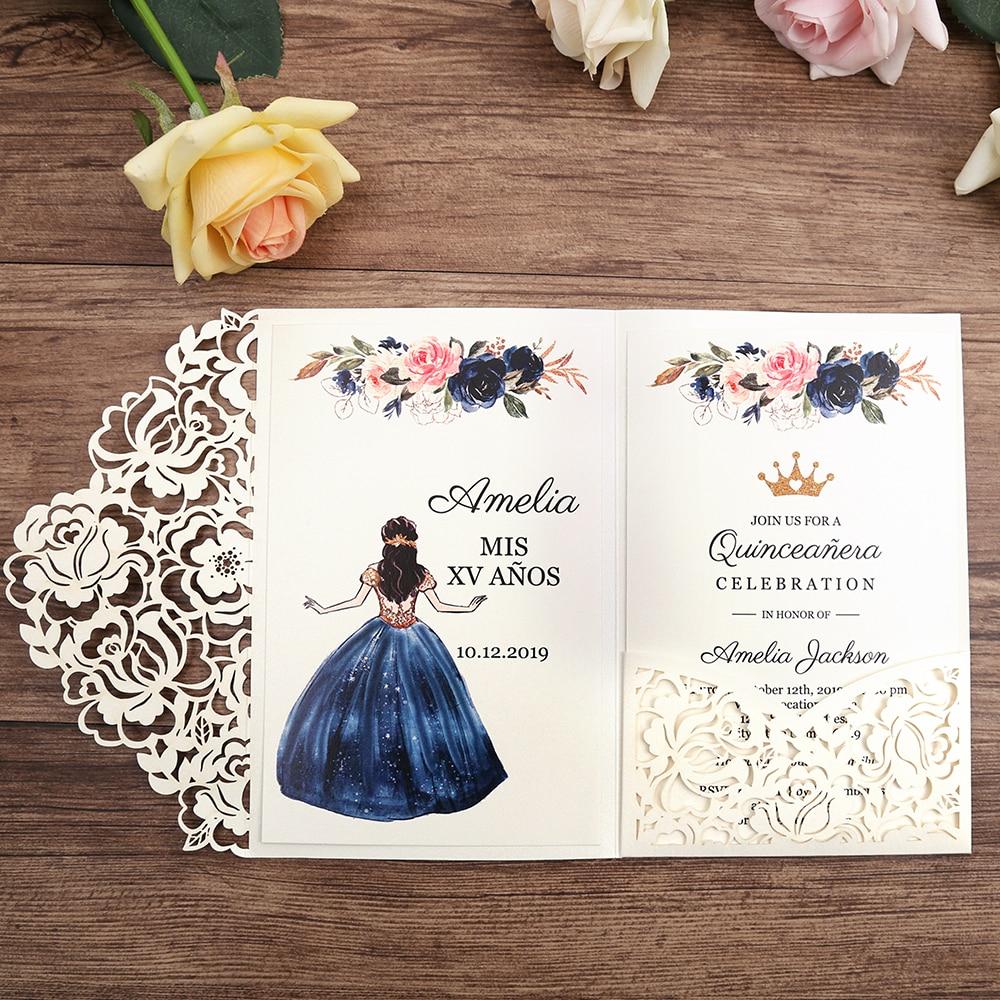 50 個白レーザーカット花の招待カード/パーティー/Quinceanera の/結婚記念日/誕生日、 CW0008  グループ上の ホーム&ガーデン からの カード & 招待状 の中 1