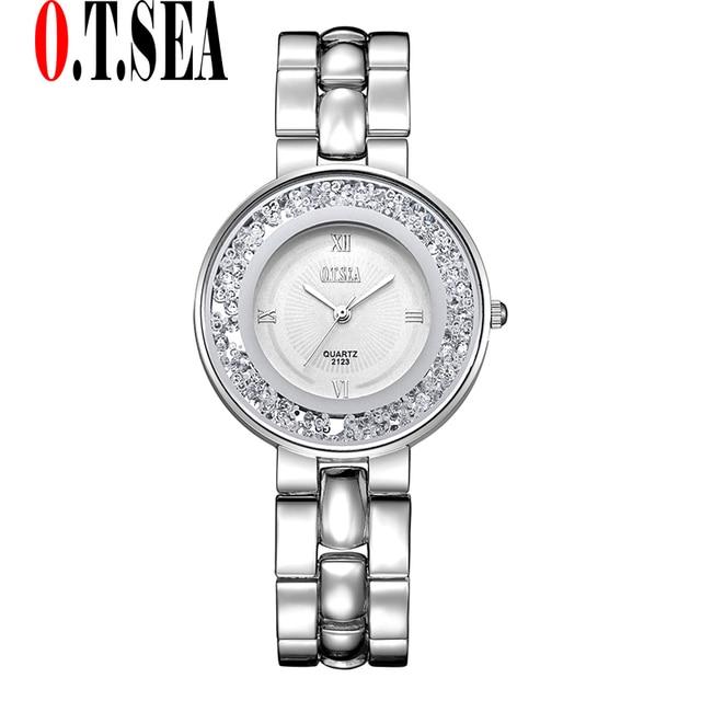Luxury O.T.SEA Brand Crystal Bracelet Watches Women Ladies Fashion Dress Quartz