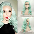 Green wavy lace front synthetic wig for women heat resistant fiber wig perruque glueless Hair weave Lace Wig