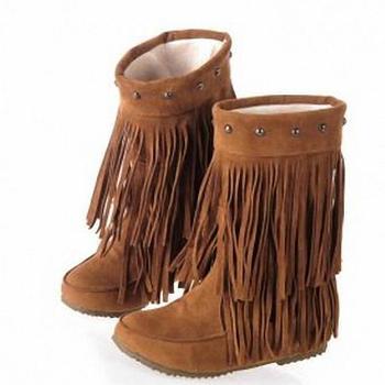 a1c610b46cde ANMAIRON женские ботинки на каблуках на плоской подошве 3 слоя бахромы  теплые боты до ...