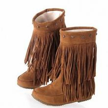 ENMAYER 2015 Women's 3 Layer Fringe Tassels Flat Heel Boots Round Toe Mid-Calf snow boots Shoes big Size34-43 winter boots цены онлайн