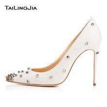 Women Fashion White High Heel Point Toe Pumps With Studs White Stiletto Plus Size Evening Dress Heels Slip On Shoe Free Shipping
