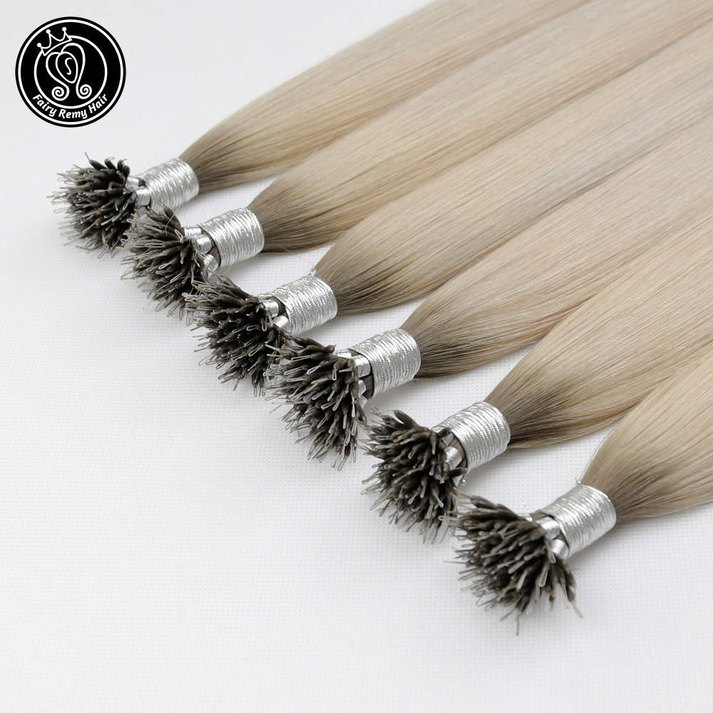 Human-Hair-Extensions Beads Remy-Hair Micro-Link Ice-Blonde Color Fairy 16inch Real