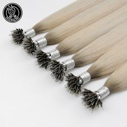 Extensiones de cabello humano de hada Remy, Pre pegado, Micro enlace, Color rubio hielo, 16 pulgadas, 0,8 g/h, Micro cuentas, cabello humano Remy Real