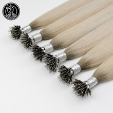 Human-Hair-Extensions Micro-Link 16-22inch Remy Beads Ice-Blonde Fairy Color Real
