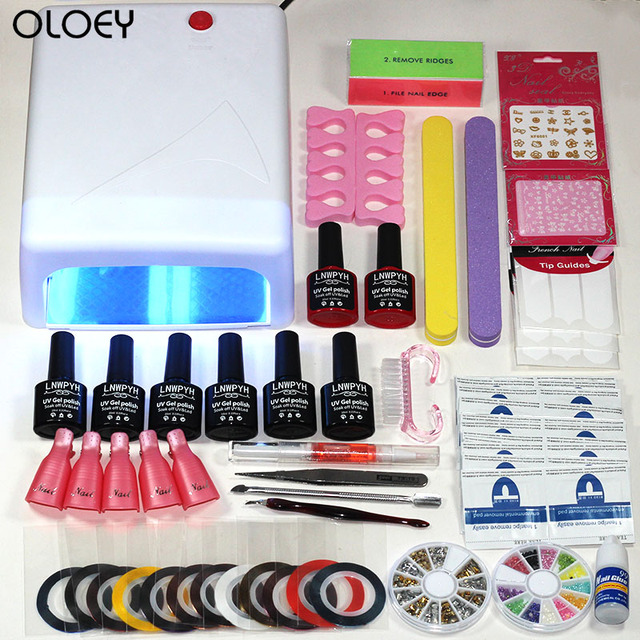 2018 Kit Nail Gel Manicure Set 36W UV Lamp Dryers Nail Art Kits 6 ...