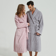 a873ed12be BathRobe Women Winter Warm Towel Fleece Men s Bathrobe Nightgown Kimono  Cotton Dressing Gown Sleepwear Female Home