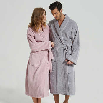 BathRobe Women Winter Warm Towel Fleece Men\'s Bathrobe Nightgown Kimono Cotton Dressing Gown Sleepwear Female Home Clothes White - Category 🛒 Underwear & Sleepwears