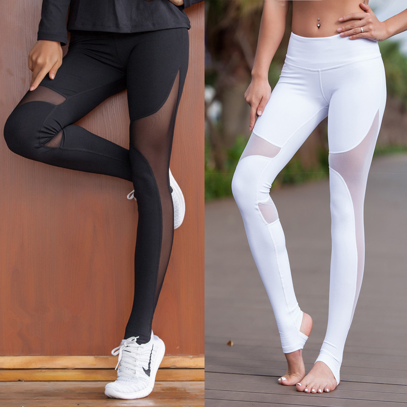 ZekaMeka Women Sport Fitness Leggings Elastic Gym Capris hollow out Tight Leggings Coast the same style Yoga pants image