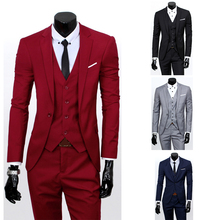 New (Jacket+Pants) Men Suit Male Blazers Slim Fit Suits For Casual Costume Business Wedding Party Work Wear