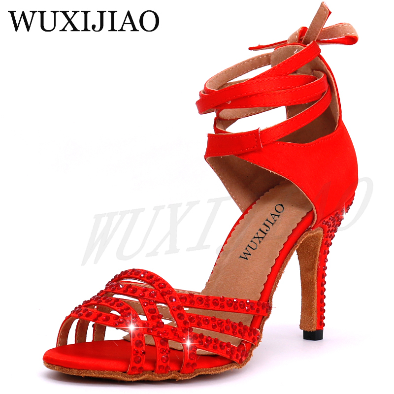 WUXIJIAO Ladies Latin Dance Shoes With Red Satin Rhinestone Style High Heels Salsa Dancing Shoes Heel 10cm