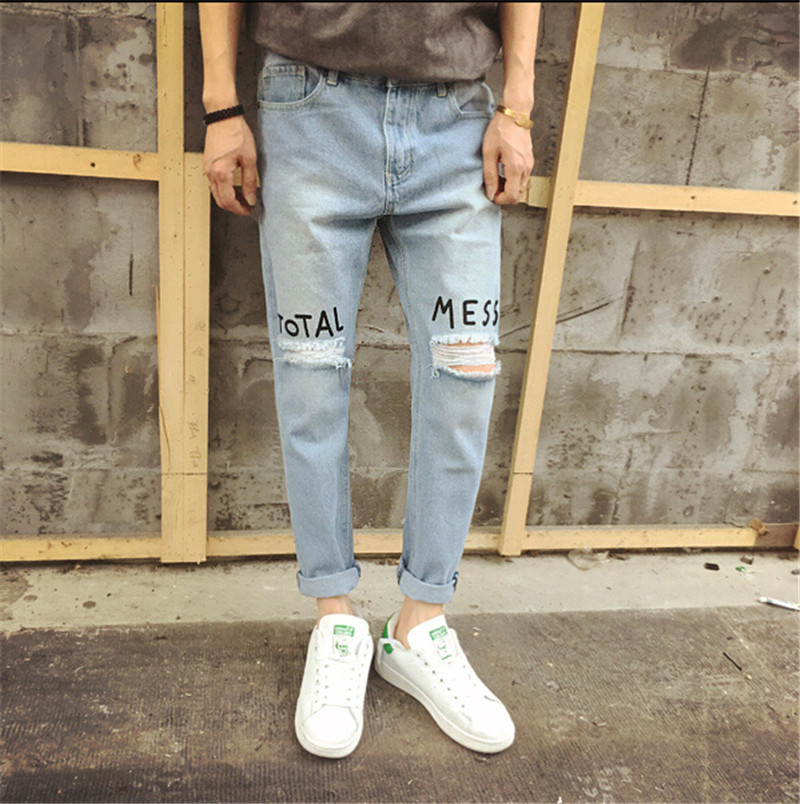 2016 New Blue Ripped Jeans Men With Holes Designer Brand Slim Fit Destroyed Torn Jean Pants For Male Plus Size S-XL цена