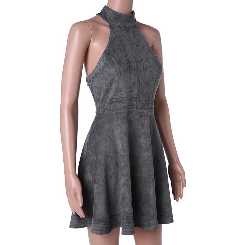 Gray Bandage A-Line Off Shoulder Backless Solid Sleeveless Mini Dress 4